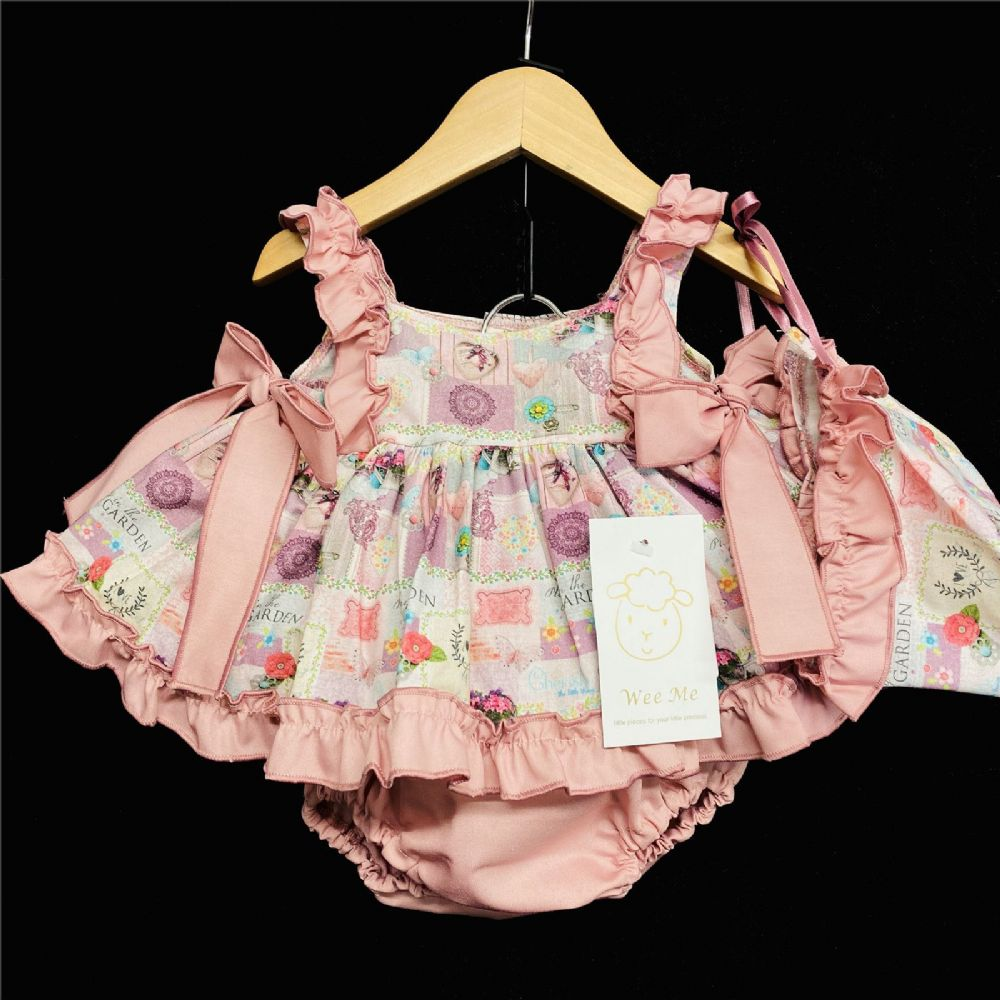 Baby Girl Spanish Dusty Pink Garden Flowers Print Open Back Dress Set